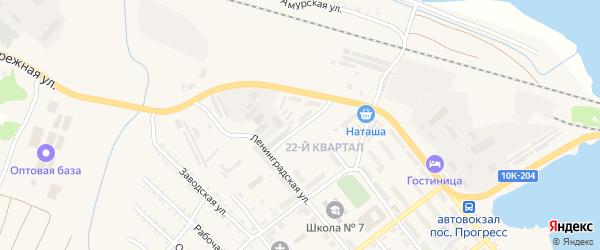 Улица Горького на карте поселка Прогресса с номерами домов