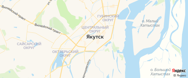 Карта Якутска с районами, улицами и номерами домов