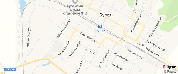 Карта поселка Буреи в Амурской области с улицами и номерами домов