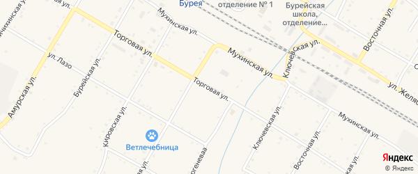 Торговая улица на карте поселка Буреи с номерами домов