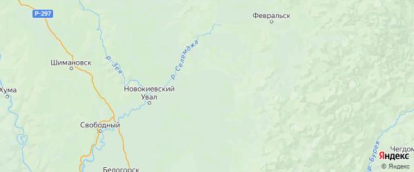 Карта Мазановского района Амурской области с населенными пунктами и городами