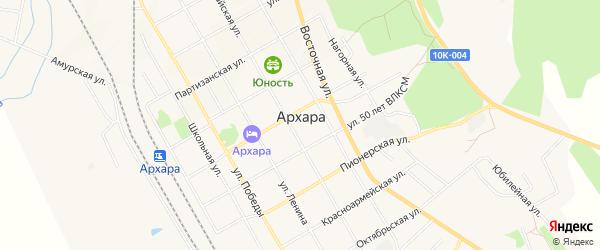 Карта поселка Архары в Амурской области с улицами и номерами домов
