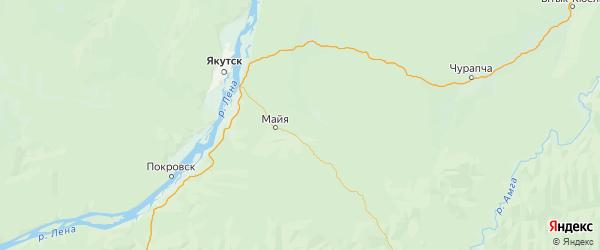 Карта Мегино-кангаласского улуса Республики Якутии с городами и населенными пунктами