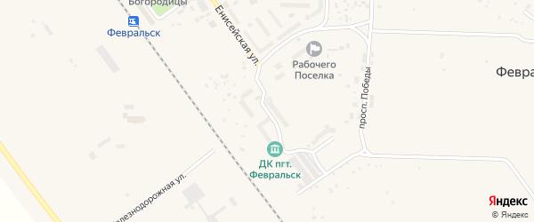 Магистральная улица на карте поселка Февральска с номерами домов