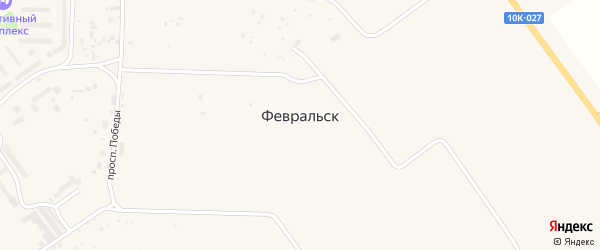 Светлая улица на карте поселка Февральска с номерами домов