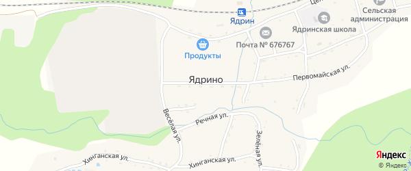 Зеленая улица на карте села Ядрино с номерами домов