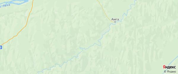 Карта Амгинского улуса Республики Якутии с городами и населенными пунктами