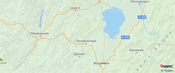 Карта Пограничного района Приморского края с городами и населенными пунктами