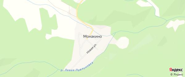 Карта села Монакино города Уссурийска в Приморском крае с улицами и номерами домов