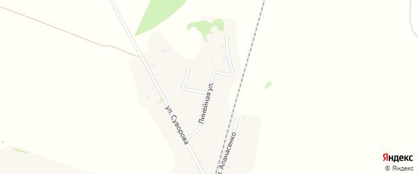 Линейная улица на карте Известкового поселка Еврейской автономной области с номерами домов