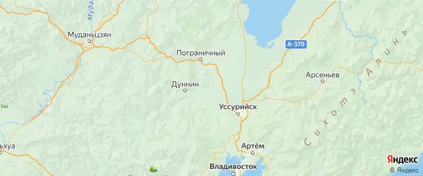 Карта Октябрьского района Приморского края с городами и населенными пунктами