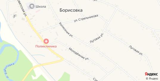 Колхозная улица в селе Борисовка в Уссурийске с номерами домов на карте. Спутник и схема онлайн