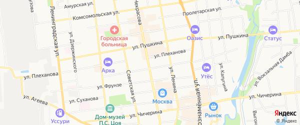 Территория ГСК Приморец на карте Уссурийска с номерами домов