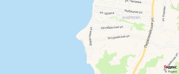 Береговая улица на карте Большого Камня с номерами домов