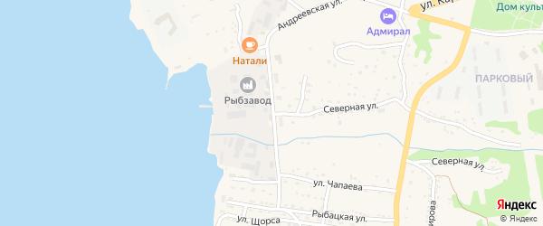 Андреевская улица на карте Большого Камня с номерами домов