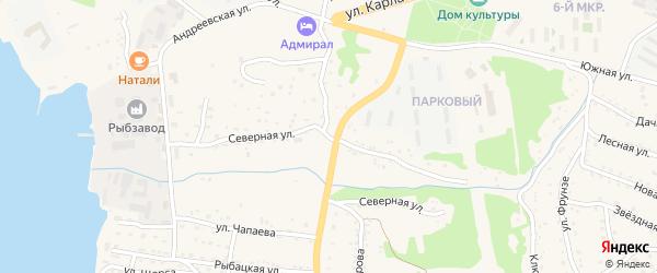 Северная улица на карте Большого Камня с номерами домов