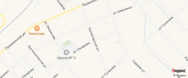 Пролетарская улица на карте села Черниговки Приморского края с номерами домов