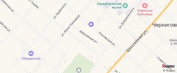 Юбилейная улица на карте села Черниговки Приморского края с номерами домов