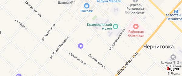 Светлый переулок на карте села Черниговки Приморского края с номерами домов