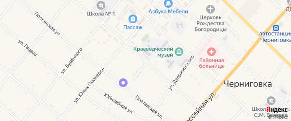 Советская улица на карте села Черниговки Приморского края с номерами домов
