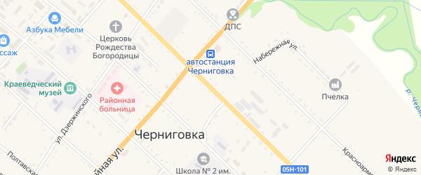 Партизанская улица на карте села Черниговки Приморского края с номерами домов