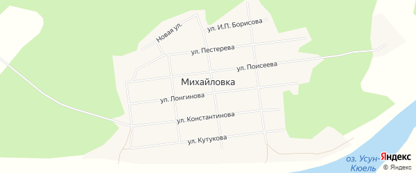 Карта села Михайловки в Якутии с улицами и номерами домов