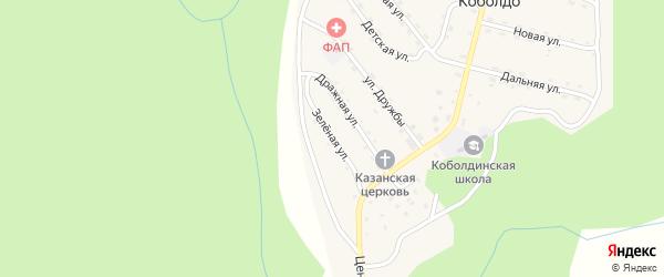 Зеленая улица на карте села Коболдо Амурской области с номерами домов