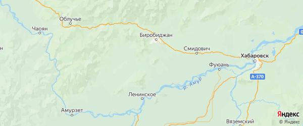 Карта Биробиджанского района Еврейской автономной области с городами и населенными пунктами
