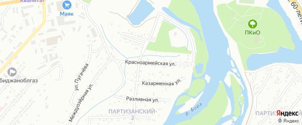 Красноармейская улица на карте Биробиджана с номерами домов