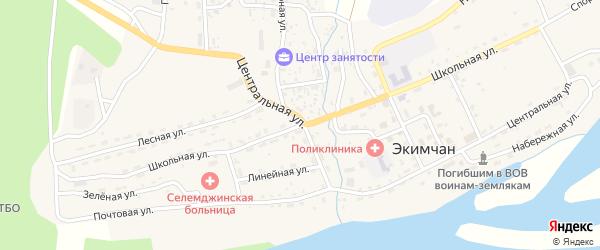 Школьная улица на карте поселка Экимчана с номерами домов