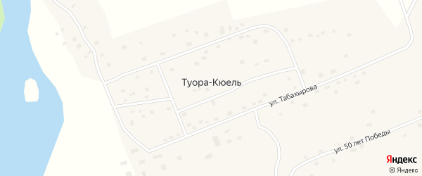 Улица Ф.Щукина на карте села Туоры-Кюели Якутии с номерами домов