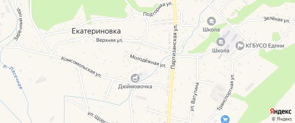 Молодежная улица на карте села Екатериновки Приморского края с номерами домов