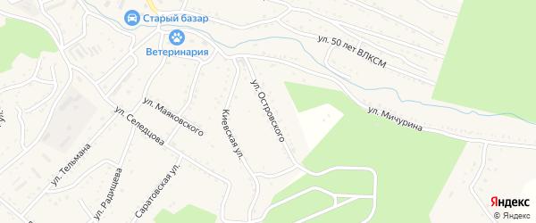 Улица Островского на карте Партизанска с номерами домов