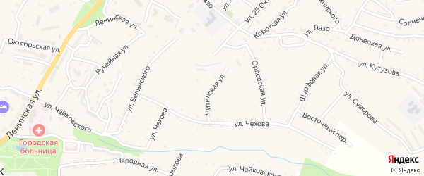 Читинская улица на карте Партизанска с номерами домов