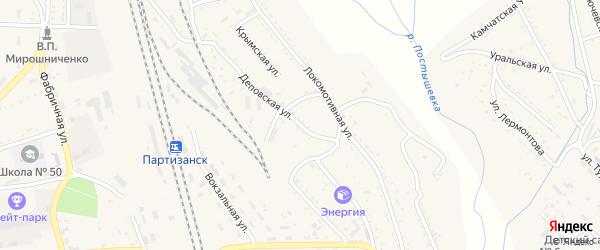 Деповская улица на карте Партизанска с номерами домов