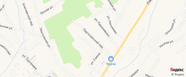 Партизанский переулок на карте Партизанска с номерами домов