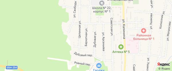 Бархатная улица на карте села Углекаменска с номерами домов