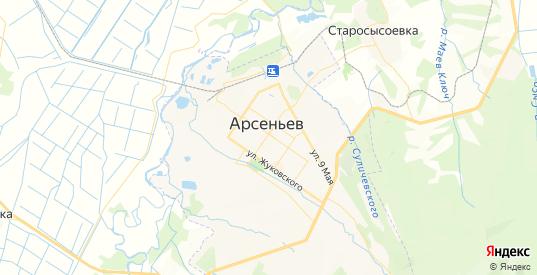 Карта Арсеньева с улицами и домами подробная. Показать со спутника номера домов онлайн