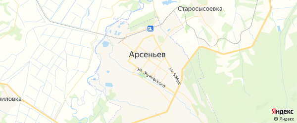 Карта Арсеньева с районами, улицами и номерами домов