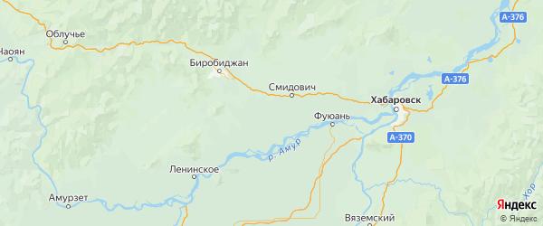 Карта Смидовичского района Еврейской автономной области с городами и населенными пунктами
