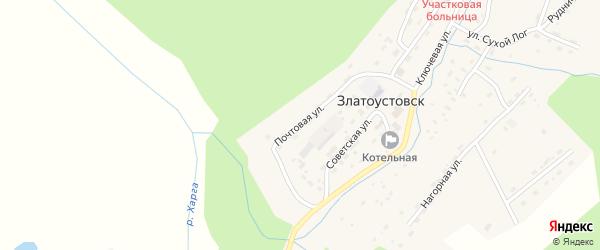 Почтовая улица на карте поселка Златоустовска с номерами домов