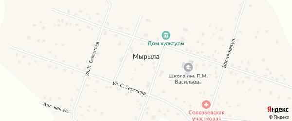 Восточная улица на карте села Мырылы Якутии с номерами домов