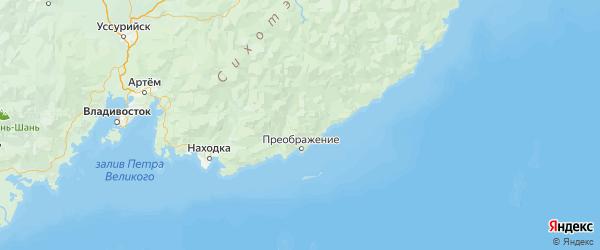 Карта Лазовского района Приморского края с городами и населенными пунктами