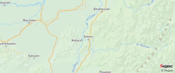 Карта Бикинского района Хабаровского края с городами и населенными пунктами