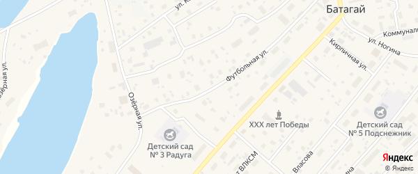 Вокзальная улица на карте поселка Батагая Якутии с номерами домов