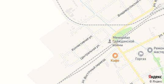 Коллективная улица в Вяземском с номерами домов на карте. Спутник и схема онлайн