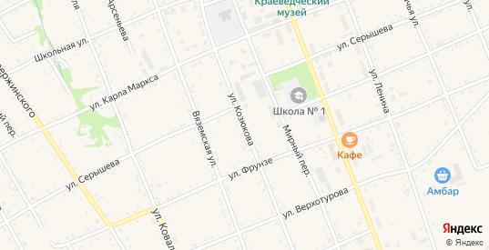 Улица Козюкова в Вяземском с номерами домов на карте. Спутник и схема онлайн