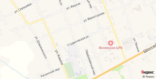 Студенческая улица в Вяземском с номерами домов на карте. Спутник и схема онлайн