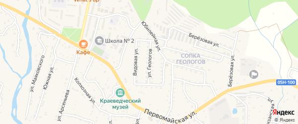 Улица Геологов на карте поселка Кавалерово Приморского края с номерами домов