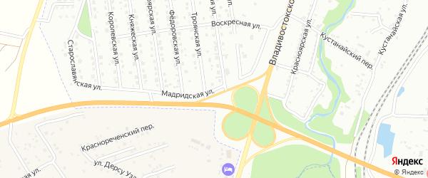 Мадридская улица на карте Хабаровска с номерами домов